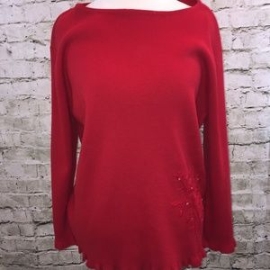 Sag Harbor Red Long Sleeve Sweater